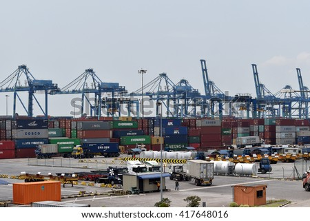 PORT KLANG, MALAYSIA - MARCH 26, 2016: Westports Malaysia strategically located along the Straits of Malacca plays a pivotal role in international maritime trade and Malaysia's economic development.