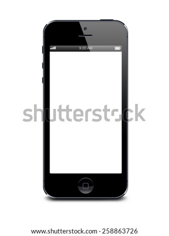 Port-Louis, Mauritius - March 01, 2015. Black Iphone 5 with white blank screen. Isolated on white - stock photo