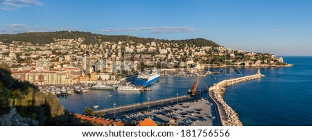 Port Lympia as seen from Colline du chateau - Nice - France - stock photo