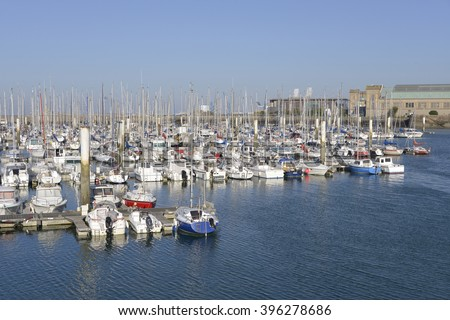 Port of Cherbourg-Octoville, a commune in the peninsula of Cotentin in the Manche department in Lower Normandy in north-western France - stock photo