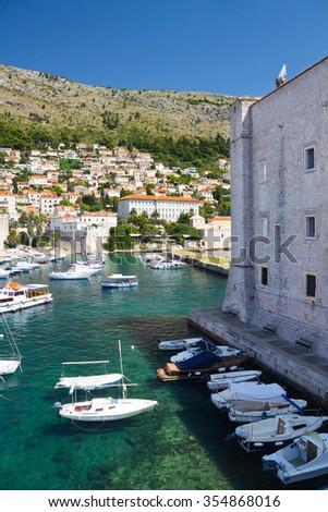 Port of Dubrovnik and a part of St. John Fort - Maritime museum (Sveti Ivan Tower), Croatia - stock photo