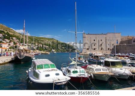 Port of Dubrovnik in Croatia - stock photo