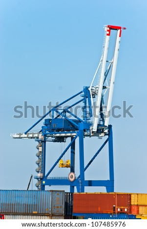 Port of Helsinki. Unloading of containers. Finland.