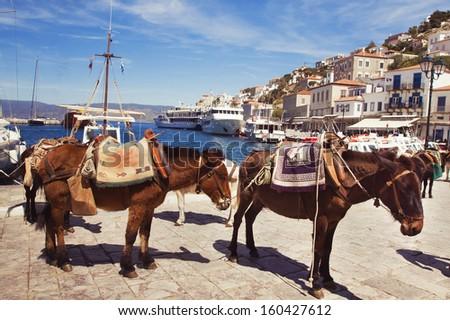port of Hydra, Greece - stock photo