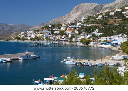 Port of Melitsahas fishing village at Kalymnos island in Greece  - stock photo