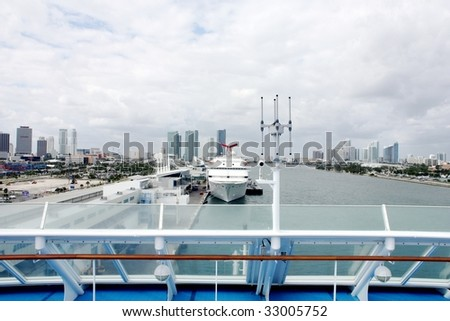 Port of Miami from a cruise ship - stock photo