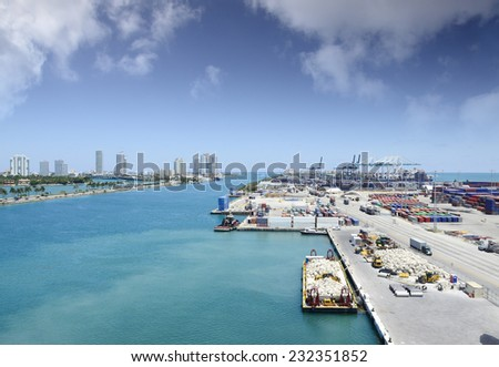 Port of Miami with the city of Miami in the background - stock photo