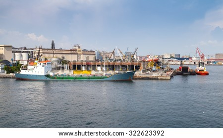 Port of Naples, coastal cityscape with moored industrial cargo ships - stock photo