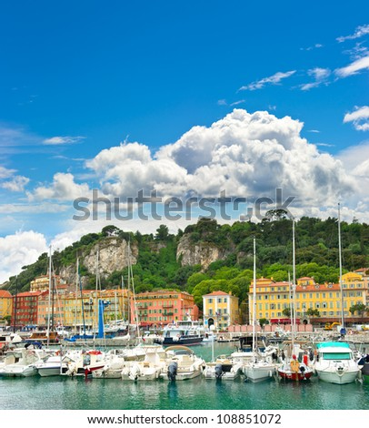 Port of Nice, Cote d'Azur, France, french riviera - stock photo