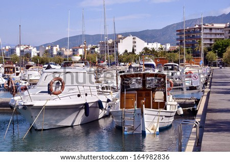 Port of Roses, or Rosas, commune on the Costa Brava at northeastern Catalonia in Spain - stock photo