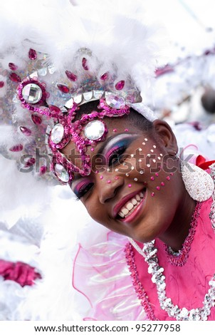 PORT OF SPAIN - FEBRUARY 11: Destini Jennings portraying Dance of The Swan Lake during the Red Cross Children's Carnival celebrations on February 11, 2012 in Port Of Spain, Trinidad & Tobago. - stock photo