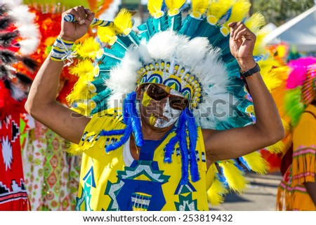 PORT OF SPAIN, TRINIDAD - February 17: Masqueraders enjoy themselves in Tribal Connection Carnival presentation-From the black hills of Dakota-, February 17, 2015 in of Port of Spain, Trinidad.