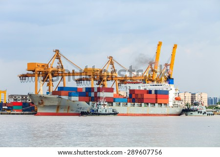 Port of unloading containers from ships. - stock photo