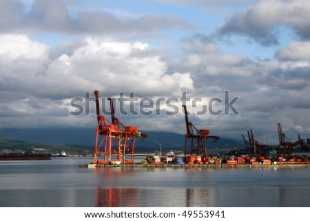 Port of Vancouver and  Container terminal. - stock photo