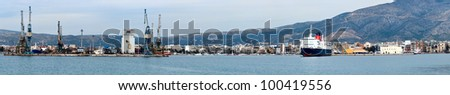 Port of Volos, harbor, Greece, panoranic view from the sea