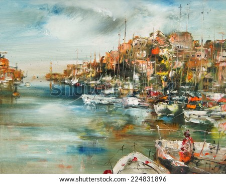 Port on the Aegean Sea, oil painting artistic background                - stock photo