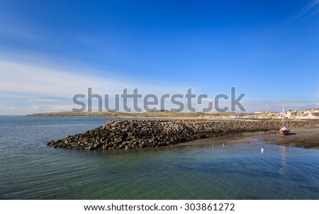 Port William Waterfront.  The view across Port William harbour in Dumfries and Galloway, Southern Scotland. - stock photo