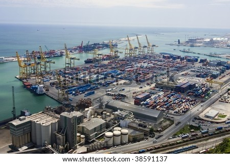 Port with containers in Barcelona - stock photo