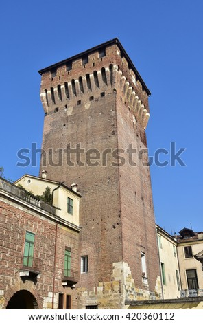 Porta Castello Tower over Vicenza main gate, the last surviving part of an ancient medieval castle