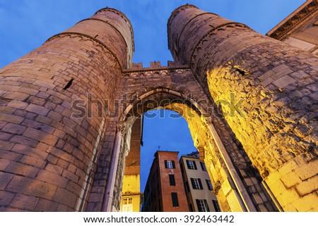 Porta Soprana in Genoa. Genoa, Liguria, Italy, - stock photo