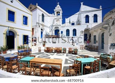 Porta square at Nikia village, Nisyros Island - stock photo