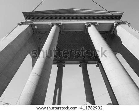 Porta Ticinese city gate in Milan, Italy in black and white - stock photo