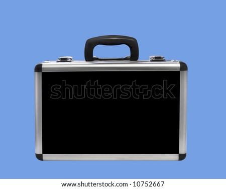 Portable aluminum case for sound and video equipment, isolated - stock photo