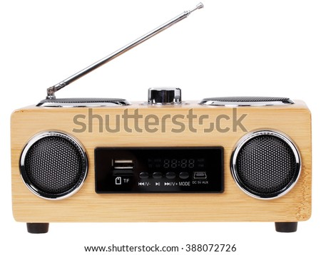 Portable audio player in retro style with a radio function on a white background. isolate - stock photo
