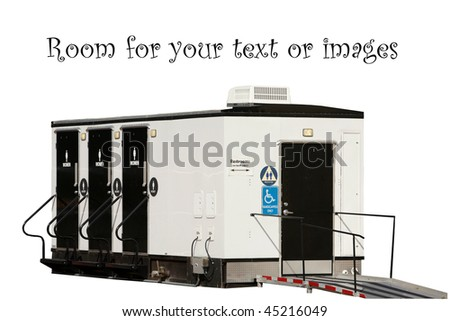 Portable bathrooms isolated on white with room for your text stock