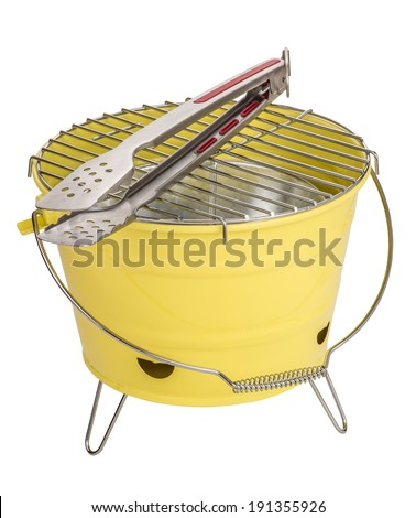 Portable bbq and tong, isolated on white - stock photo