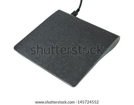 Portable Cd/Dvd external drive on white background - stock photo