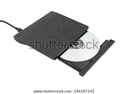 Portable Cd/Dvd external drive on white background (with clipping path)