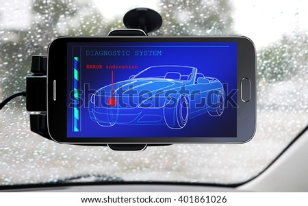 portable device for diagnostic system of car - stock photo