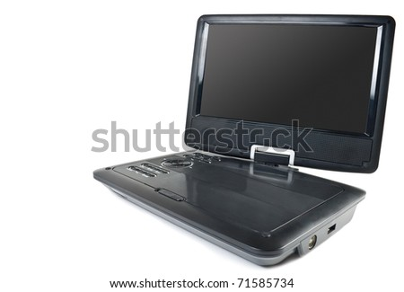 Portable dvd player and tv isolated on white background - stock photo