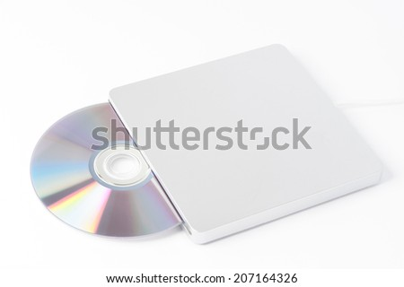 portable dvd writer with disc - stock photo