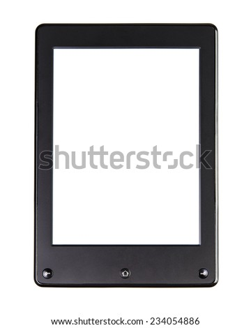 Portable e-book reader for book and screen. You may add your own text or picture. Electronic book with home button, right and left button and blank space.Isolated on white - stock photo