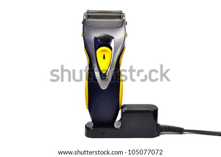 portable electric shaver on white background