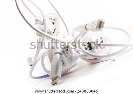 Portable External Battery Chargers. New age of battery. - stock photo