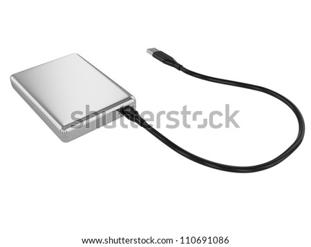 Portable external hard disk drive with USB cable on white background. 3D image - stock photo