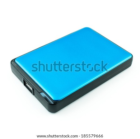 Portable External Hard Drive Disk isolated on white - stock photo
