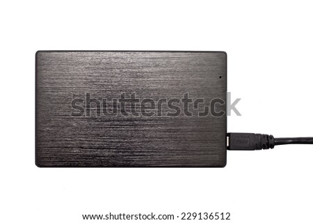 Portable external HDD hard disk drive with USB cable on white background. - stock photo
