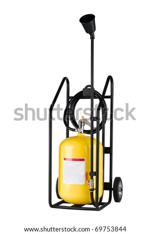 Portable fire extinguisher isolated on white background - stock photo