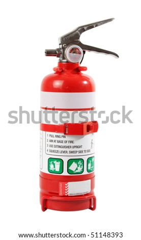 Portable Fire Extinguisher isolated over white background. - stock photo