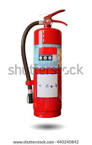 portable Fire extinguisher red tube isolated on white background. This has clipping path.                             - stock photo