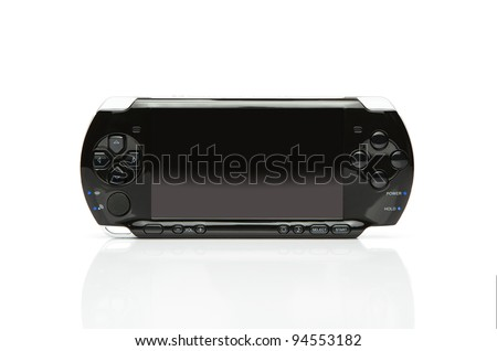 Portable game console with clipping path for the screen - stock photo