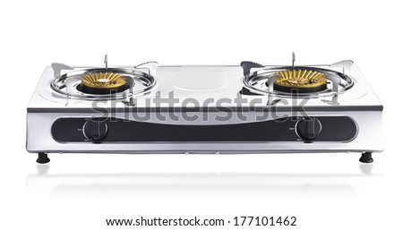 portable gas stove isolated on white background - stock photo
