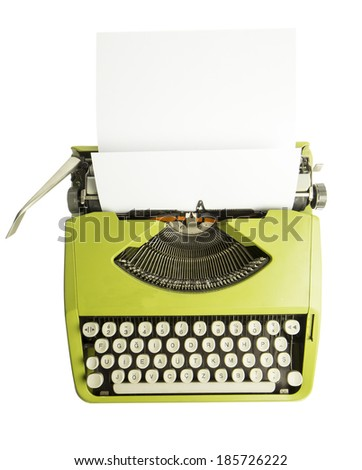 Portable green typewriter with sheet of paper isolated on white top view