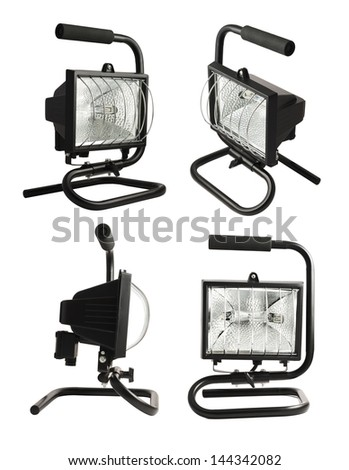Portable halogen construction lamp with a handle isolated over white background, set of four foreshortenings - stock photo