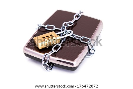Portable hard drive disk and combination lock padlock. Data security concept  - stock photo