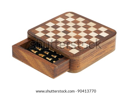 Portable pocket chess board on a white background - stock photo